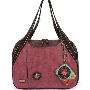 Chala handbag with whimsical turntable coin bag
